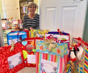 A collection of birthday gift bags is ready to be delivered to residents of the Homestead Rehabilitation and Healthcare Center in Newton by Arleen Hill, co-chair of the Vernon Township Woman's Club Birthday Bag project.